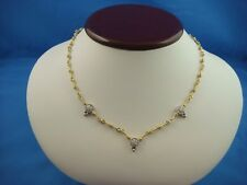 18K 2 TONE GOLD DIAMOND NECKLACE MADE IN ITALY 18.7 GRAMS 17 INCHES LONG