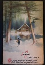 Clapsaddle ~Winter Snowy Cabin Scene~Antique Christmas Postcard--Wolf Publ.-s989