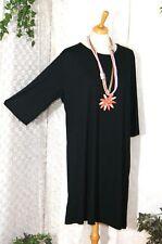 S. HANIYA Damen Shirt Kleid Tunika schwarz Gr.: 42 44 46 Viskose m. Elasthan