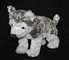Peluche doudou chien husky TY 2001 blanc gris yeux & nez durs 29 cm TTBE