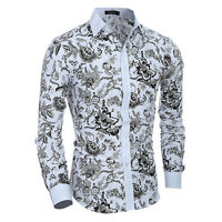 Stylish Mens Luxury Casual Formal Shirt Long Sleeve Slim Fit White Dress Shirts