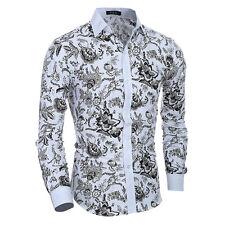 Stylish Mens Luxury Casual Formal Shirt Long Sleeve Slim Fit White Dress Shirts