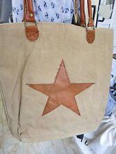 Bolso De Compras Lona Cuero Beige Marrón Estrella Bolsa de compra