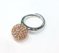 Anello Boccadamo argento rodiato boule di cristalli swarovski gold Ref.AN397G