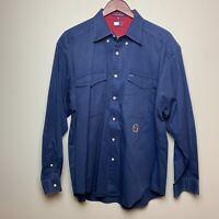 Vintage 90's Tommy Hilfiger Men's L/S Button Down Shirt Crest Logo BLUE SZ L