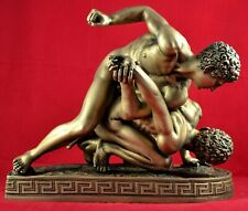 The Wrestlers , Nude Male Body ,The Two Wrestlers , Gold Patina Statue Free Ship