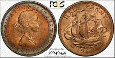 1960 GREAT BRITAIN HALF PENNY PCGS MS64RB BU HIGH GRADED TONED COIN !!!