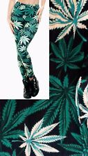Soft Matte Fabric Weed Leaf Print Leggings Trousers One size UK8-12