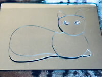 "Vintage Mirror Vanity Tray With Raised Cat Shaped Mirror In Center 13"" x 10"""