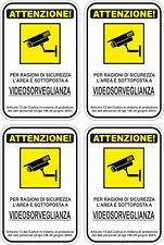 KIT 4 ADHESIVOS ADHESIVO SIGNO 10X15 ZONA VIDEO VIGILANCIA ATENCIÓN COD150