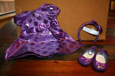American Girl Bitty Baby Polka Dot Holiday Dress Set ~Purple Outfit ~ NEW in Box