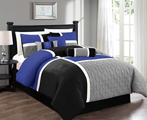 Chezmoi Collection 7-Piece Quilted Patchwork Comforter Set, Gray/Blue/Black,