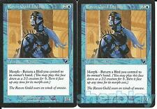 MTG Magic the Gathering TCG SCOURGE 2X Raven Guild Initiate Wizard Blue 46 / 143