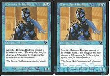MTG Magic the Gathering TCG SCOURGE 2X Raven Guild Initiate Wizard Blue 46 / 143