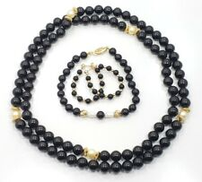 Beautiful Vintage 14k Yellow Gold Onyx Pearl Necklace Bracelet Earring Set