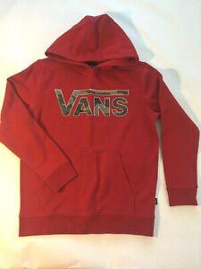 Vans New Classic Hooded Pullover Sweatshirt Red/Pattern Camo Youth Boy's Medium