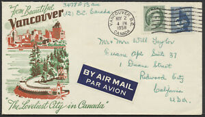 1958 Vancouver Multi-Colour Advertising Cover, Air Mail to USA