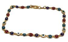 Evil Eye Anklet Foot Chain 18K Gold Plated Multicolor Anklet 10 inch Tobillera