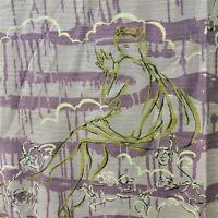 1940s Drapery Barkcloth Fabric Violet Gold Nude Venus Cherubs Screen Print 8 YDS
