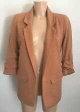 Beautiful Smart Causal Boyfriend Beige Ruch Sleeves Blazer Jacket 8 - 18