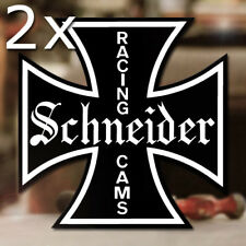 2x Stück Schneider Racing Cams Sticker Aufkleber Hot Rod V8 Iron Cross 100mm