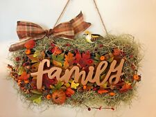 Family Thanksgiving Front Door Sign Spanish Moss Fall Leaves Wreath Handmade USA