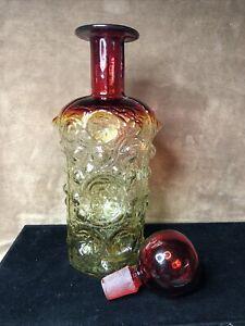 """Vtg Joel Myers Blenko Glass Decanter Textured Ball Stopper Aberina Moonscape 13"""""""