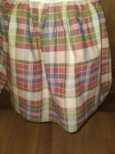 Chaps Home Plaid Ruffled Full Double Bed-Skirt Tan, red, green, blue, gold