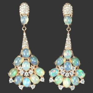 AWESOME FIRE OPALS EARRINGS SET IN STERLING 925 WITH GOLD COATED