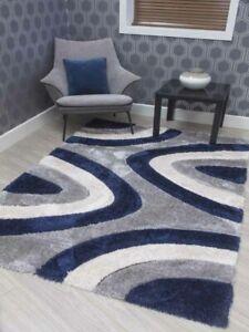 Navy Grey Cream Thick Chunky Living Room Silky Carpets Rugs Modern Heavy Shaggy