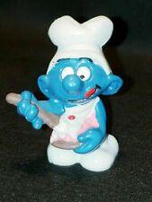1982 Peyo Schleich Smurfs Greedy Smurf Cake Baker Vintage PVC Figure Rare