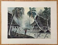 INDONESIAN ARTIST A.AZIZ(20THC) ORIGINAL WATERCOLOR LANDSCAPE PAINTING ON PAPER