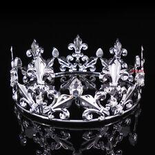 Men's Imperial Medieval Fleur De Lis Silver King Crown 7cm High 18cm Diameter