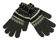Warm Winter Gloves Knitted Womens Mens Christmas Snowflake Gloves Dark Gray