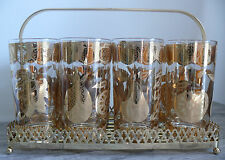 8 Culver Gold Gilt Fruit Design Beverage Glasses  Vtg in Carrying Rack Barware