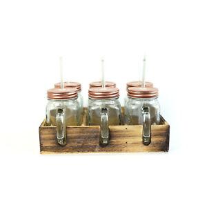 Trinkbecher / Trinkglas mit Deckel und Strohhalm / 6er Set