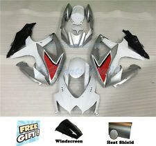 Fit for Suzuki 08-10 GSXR 600 750 Injection White Silver Black Fairing Kit i14