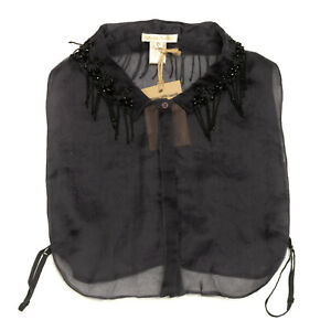 RRP €105 GOLD HAWK Silk Dickey Size L See Through Embellished Adjustable Sides