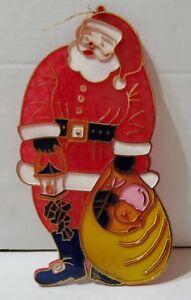Vintage Santa Claus Suncatcher Christmas Window Hanging Ornament 9'' Decoration