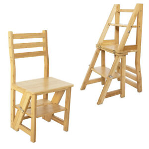 Bambus Faltstuhl mit Leiter Funktion 3-Stufen Trittleiter Stuhl und Blumenleiter