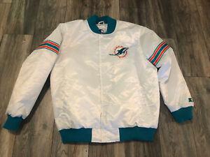 New Miami Dolphins White Starter Satin Jacket Men's Xl Double Sided