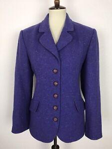 Carlisle Vintage Women Sz 10 Blazer Jacket Purple Tweed Wool Silk Blend Pockets