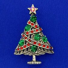 Tree Brooch Made With Swarovski Crystal Star Multi Color Vintage Look Pin Gift