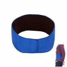 Waist Trimmer Belt Slim Body Sweat Wrap for Stomach and Back Lumbar Support Blue