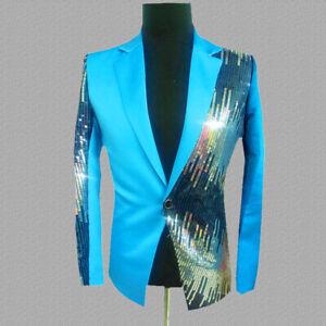 Men Blazers Suit Jacket Coat Shiny Sequin Glitter Club Weeding Party Costume Top