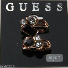 NWT Guess Gold Metal Clear-Black-Smoky Rhinestones Double Band Ring Set, Size 7