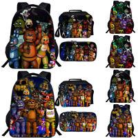 Five Nights At Freddy's FNAF 3pcs/set Backpack Chica Bonnie School Bag Lunch Bag