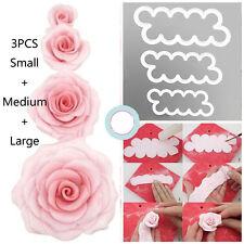 3PC 3D Rose Petal Cake Cutter Fondant Icing Tool Sugarcraft DIY Decorating Mould