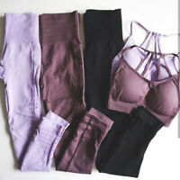 Women's Sports Yoga Suit Seamless Bra Pants Leggings Set Gym Fitness Atheltic G2