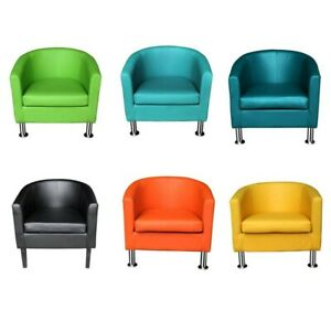Colourful Faux Leather Tub Chair Armchair Home Cafe Shop Chairs For Adults
